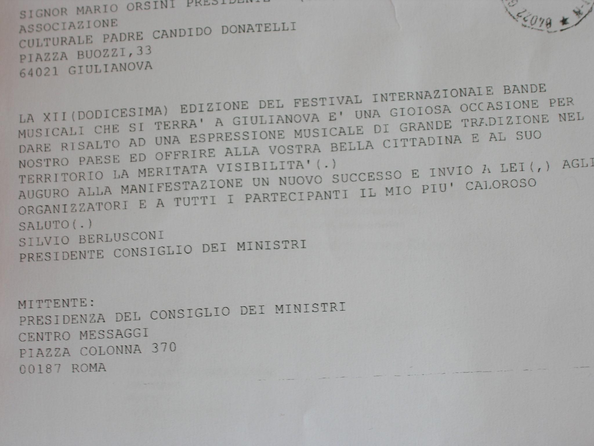 Giulianova Festival Internazionale Bande Devo Consegnare Un