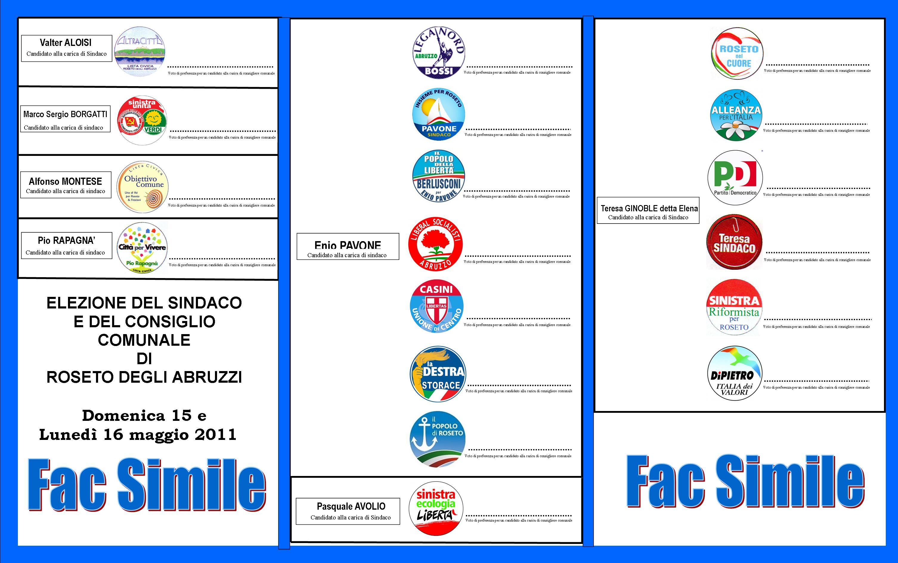 Fac Simile Scheda Elettorale 2011