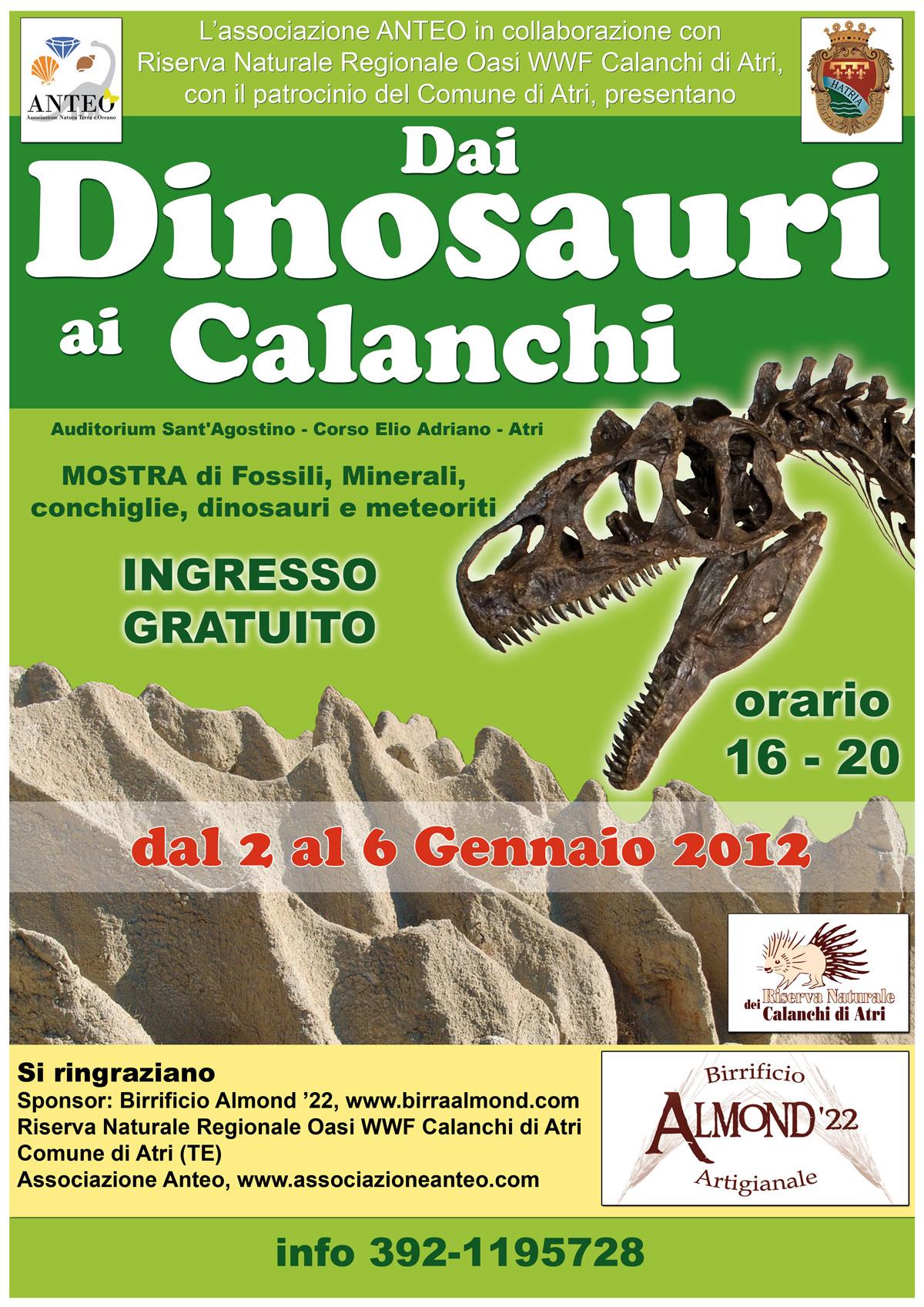 """Atri. """"Dai dinosauri ai calanchi"""".  Mostra scientifico-didattica presso l'Auditorium S. Agostino ad Atri (TE)."""