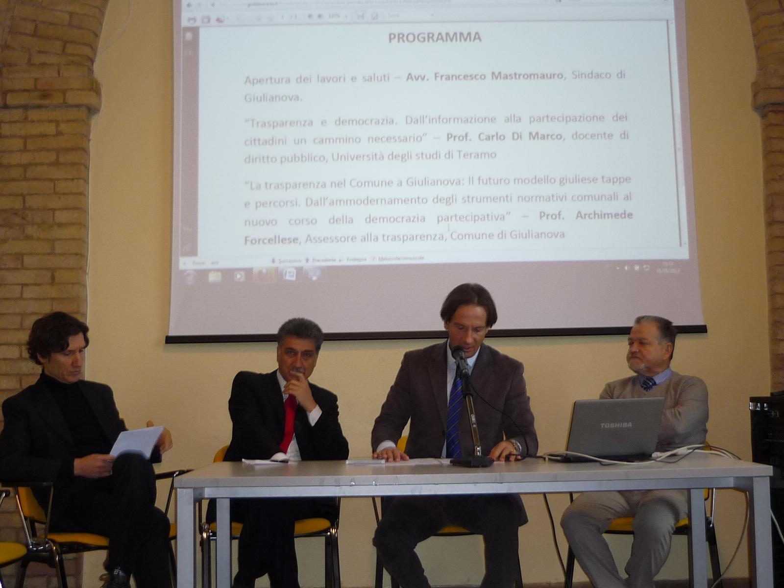 Giulianova. Si è tenuta oggi la Prima Giornata della Trasparenza e della Partecipazione.