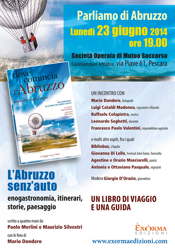 Locandina Dove comincia l'Abruzzo presentazione Pescara - 23 giugno 2014