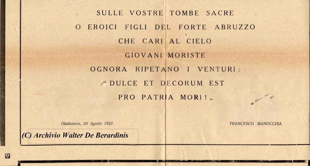 4° Ristampa, Giulianova 1927