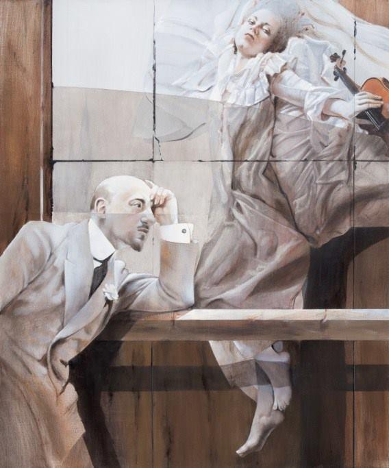 D'Annunzio e la farfalla, 2013, acrilico e olio su tela, cm.120x100