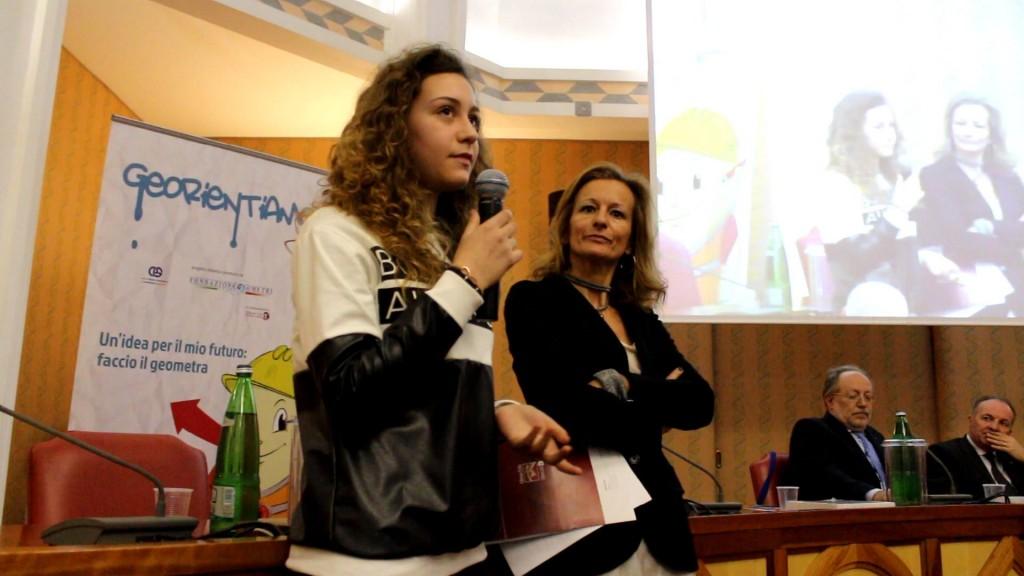 Roma. Sara Ambrosio durante la premiazione.
