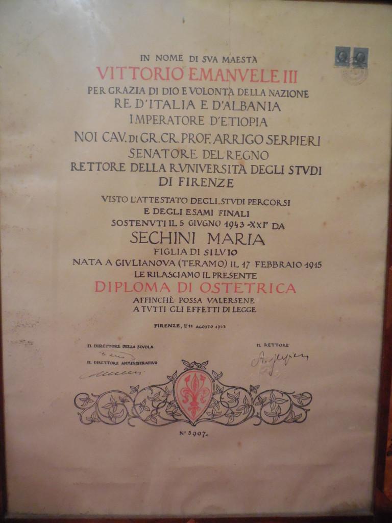 Il diploma universitario di Maria Sechini