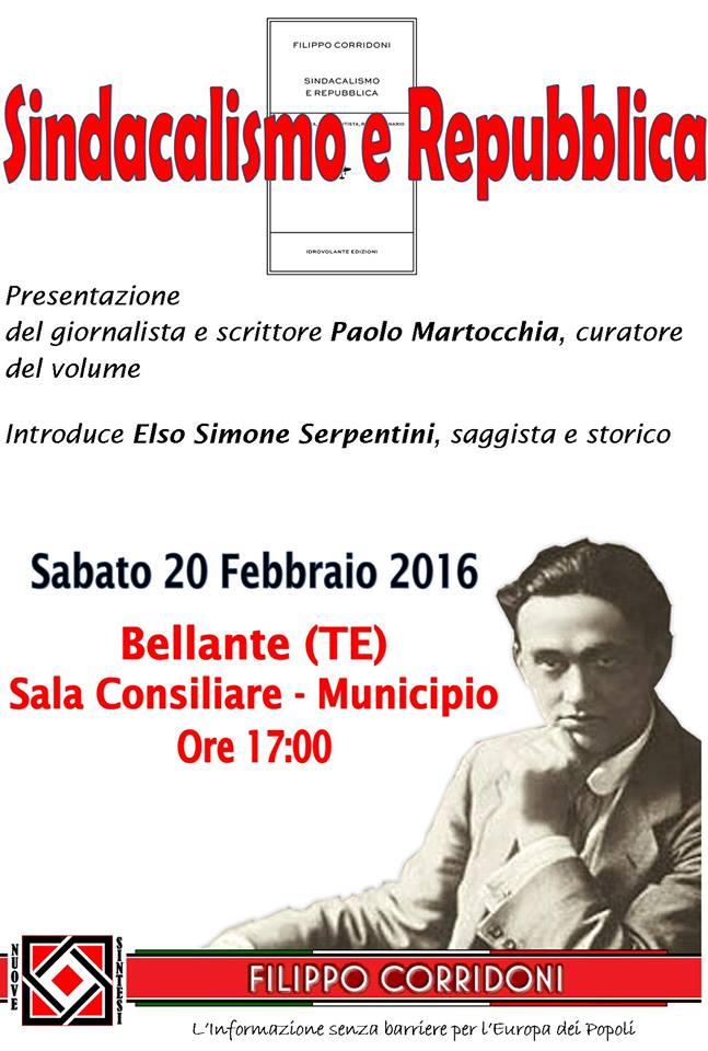 """Bellante (TE). L'Associazione Culturale NUOVE SINTESI presenta il volume:  """"SINDACALISMO E REPUBBLICA"""""""