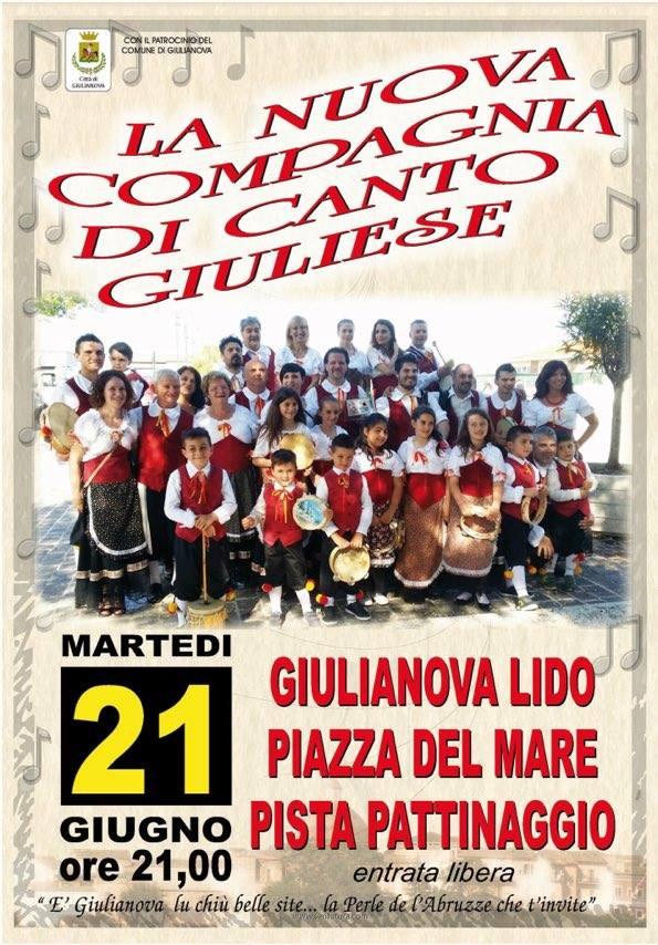 """Giulianova. Esibizione del gruppo """"La nuova Compagnia di Canto Giuliese"""", 21 giugno"""