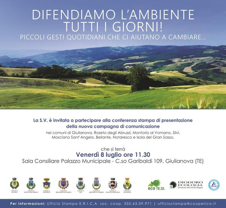 """Giulianova. Presentazione campagna """"Difendiamo l'Ambiente tutti i giorni!"""", venerdì 8 luglio ore 11,30"""