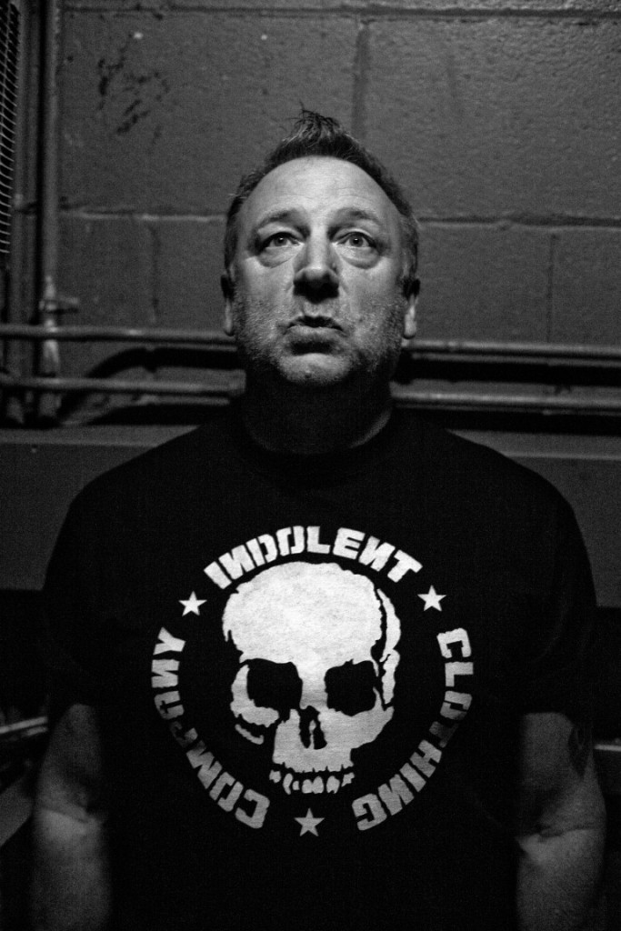 Peter Hook on the stairway to the stage pre Closer Concert at Factory Manchester. 18 5 2011.Portrait by William Ellis from a photo essay.