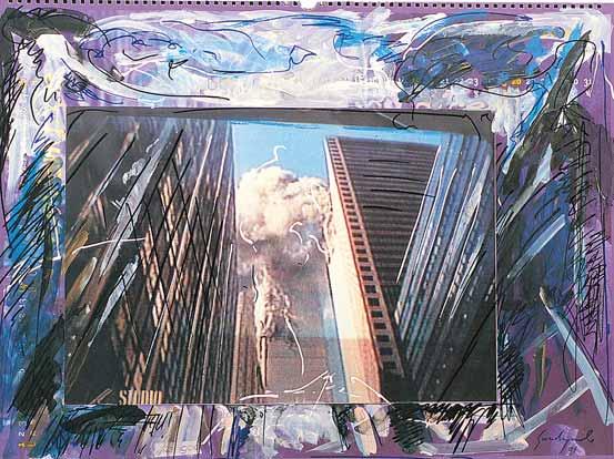 f-guadagnuolo-new-york-11-09-2001-economia-in-fumo-tecnica-mista-su-calendario