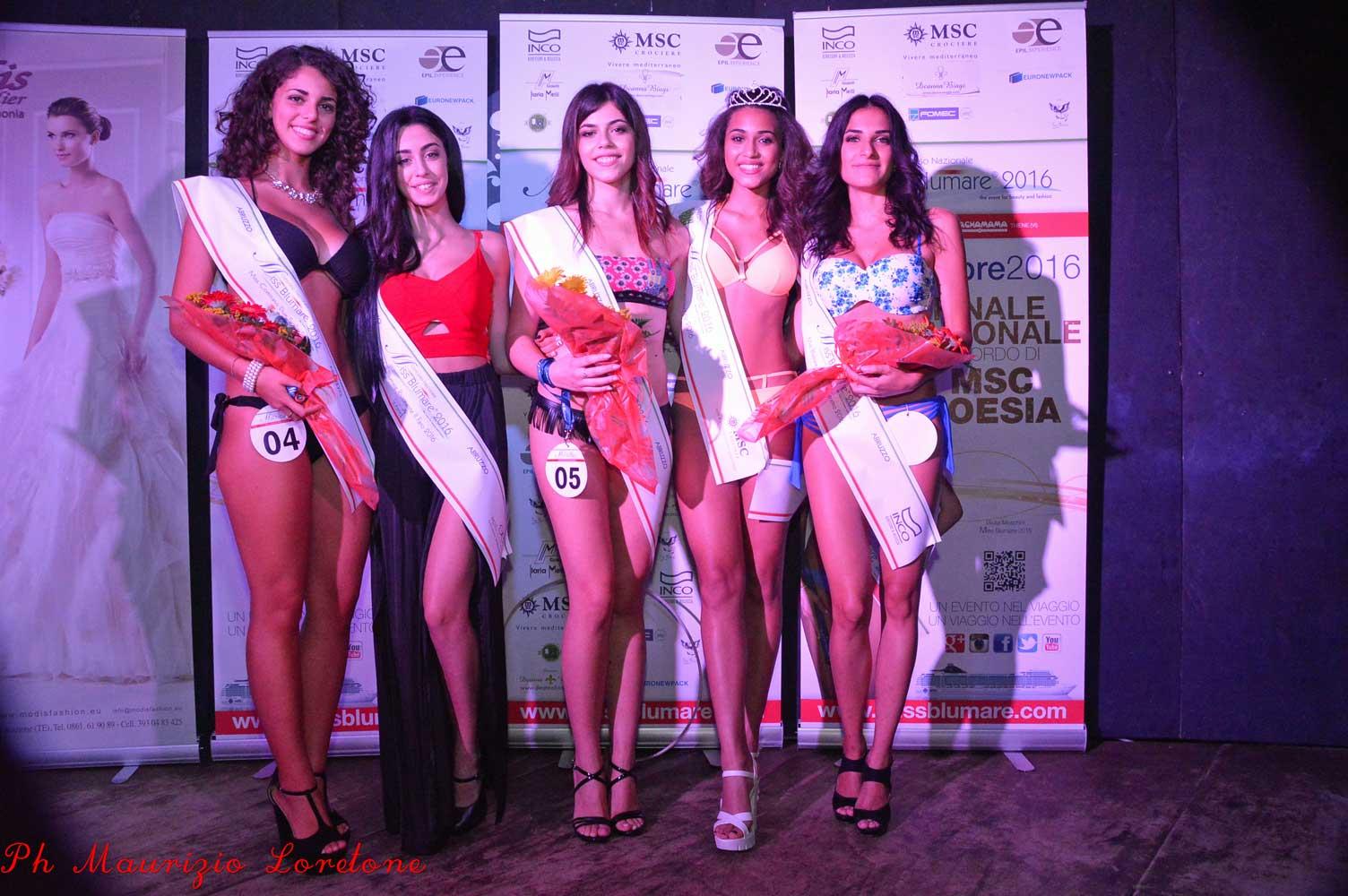 Finale Regionale di Miss Blumare Abruzzo 2016, le vincitrici