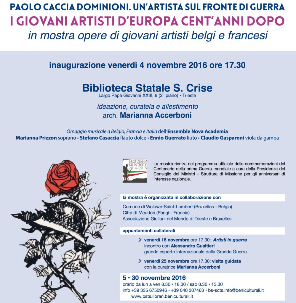 """""""I giovani artisti d'europa cent'anni dopo"""" a Trieste – Alessandro Gualtieri parteciperà il 18 novembre, alle ore 17:30"""