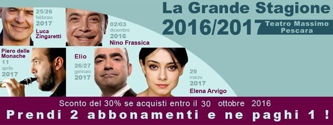 Prorogata l'offerta degli abbonamenti per la stagione teatrale 2016 2017 del Teatro Massimo di Pescara