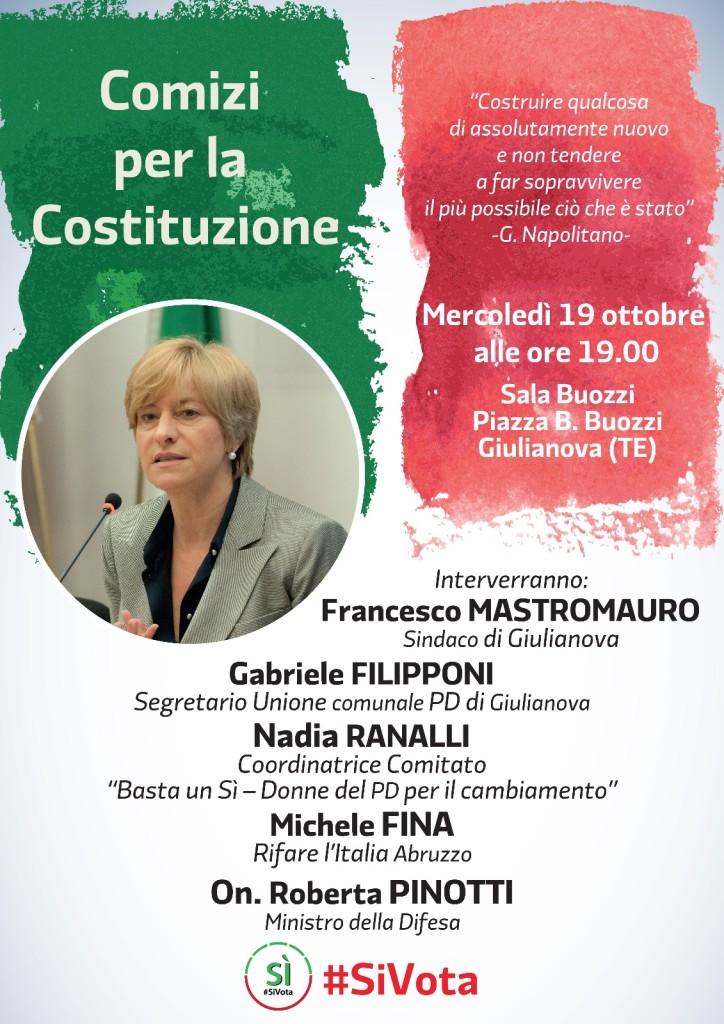 Giulianova. Rinviata la conferenza con La Ministra on. Roberta Pinotti