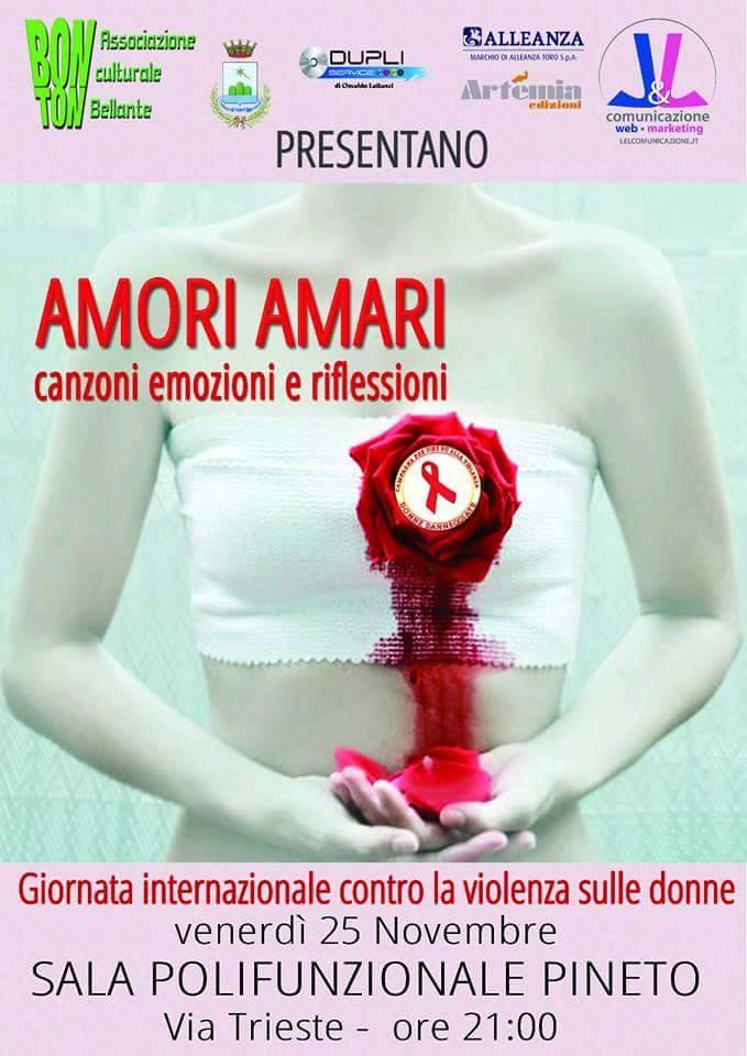 """Pineto. Evento """"Amori Amari – canzoni, emozioni e riflessioni"""", venerdì 25 novembre, ore 21:00."""