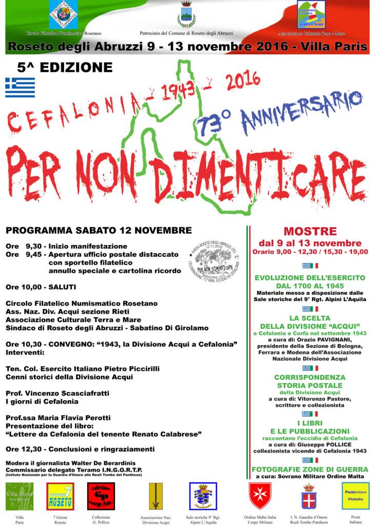 """Roseto degli Abruzzi. 5° edizione """"per non dimenticare"""", 73° anniversario dei fatti di """"Cefalonia"""""""