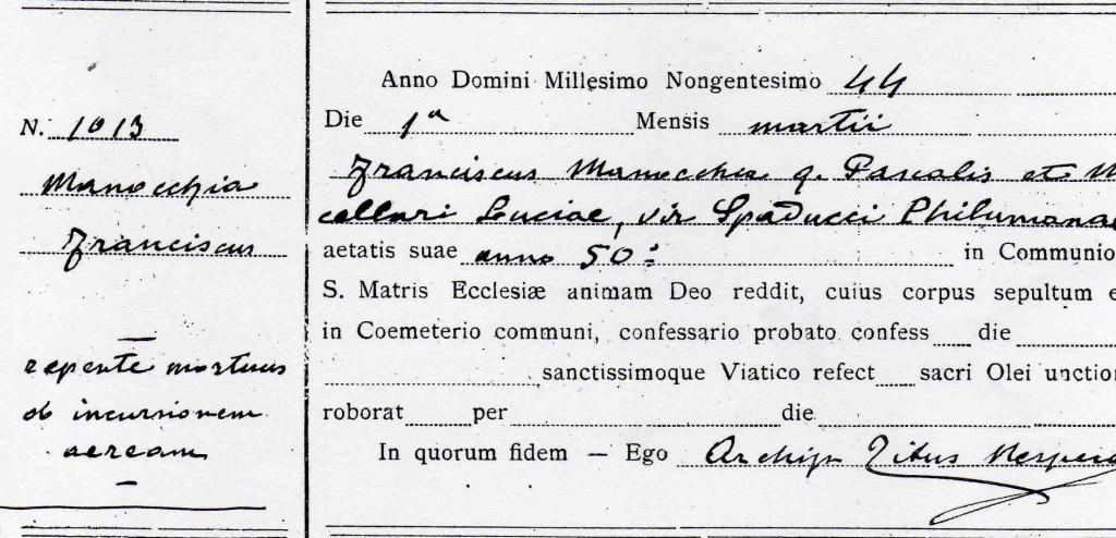 MORTE di FRANCESCO MANOCCHIA