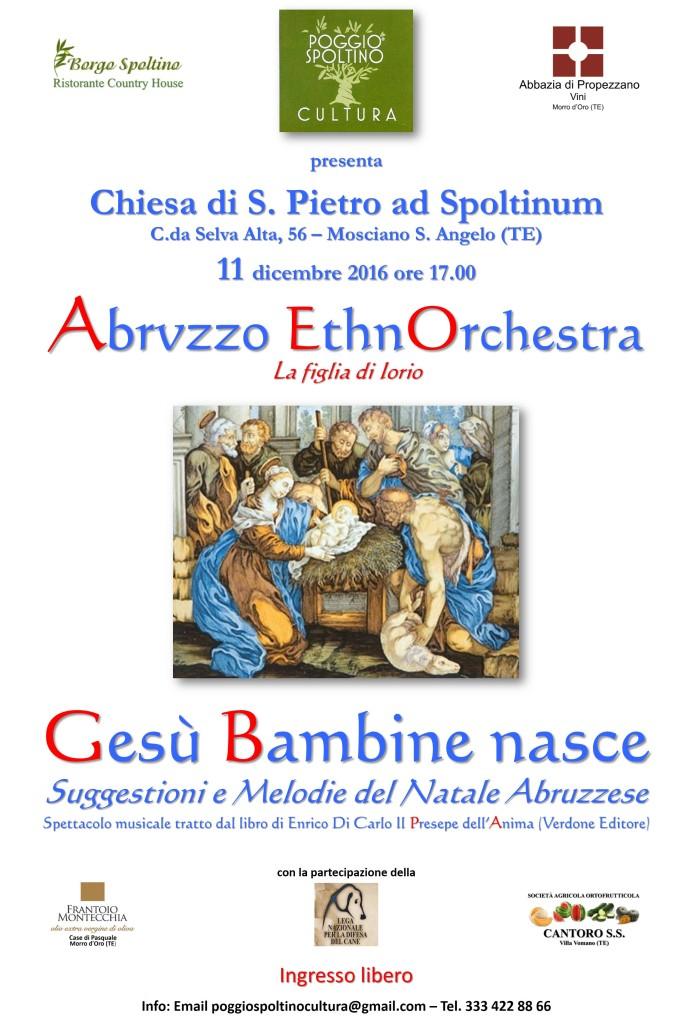 Borgo Spoltino di Mosciano Sant'Angelo, Concerto di Natale dell'11 dicembre 2016. Ingresso libero.