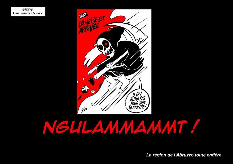 """Giulianova. Il """"nostro"""" DISTE risponde al giornale satirico francese """"Charlie Hebdo"""" dopo la vignetta sulla tragedia in Abruzzo."""