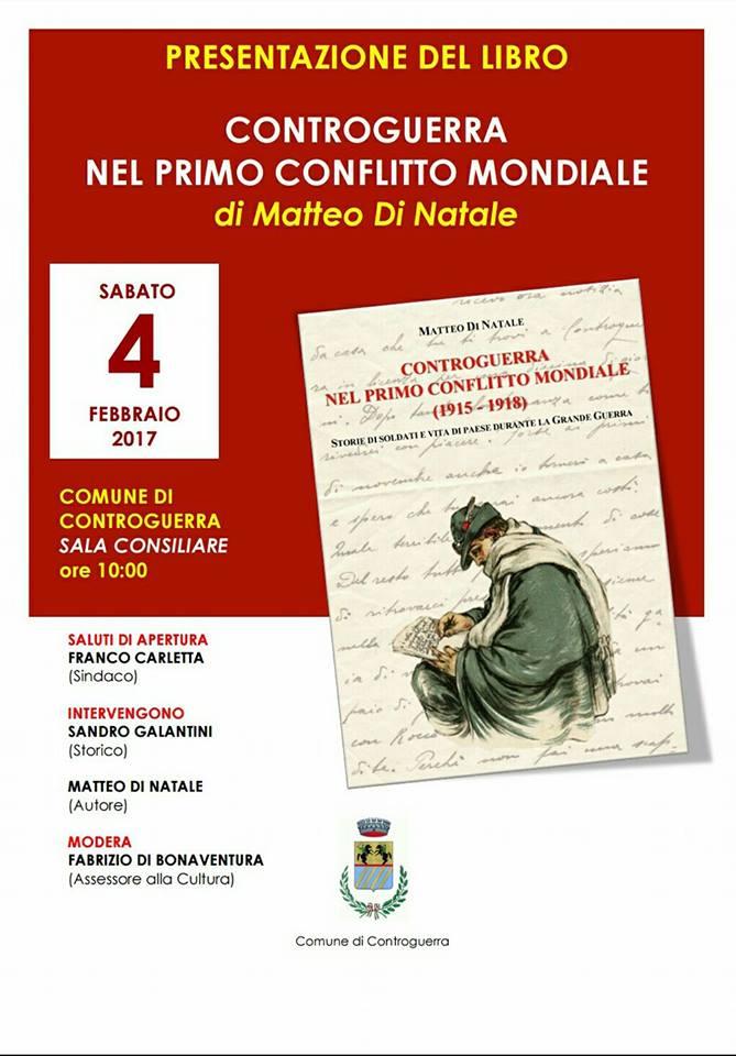 """Controguerra. Presentazione del libro """"Controguerra nel primo conflitto mondiale"""" di Matteo Di Natale."""