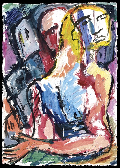 Dario Ballantini, Tolgo, 2016, acrilici su carta toscolano, cm 100x70