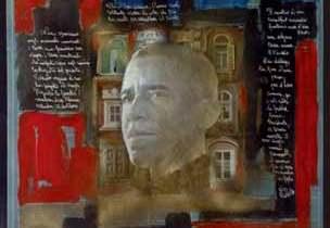 Francesco Guadagnuolo - Ritratto di Obama (con i versi di Vito Riviello)
