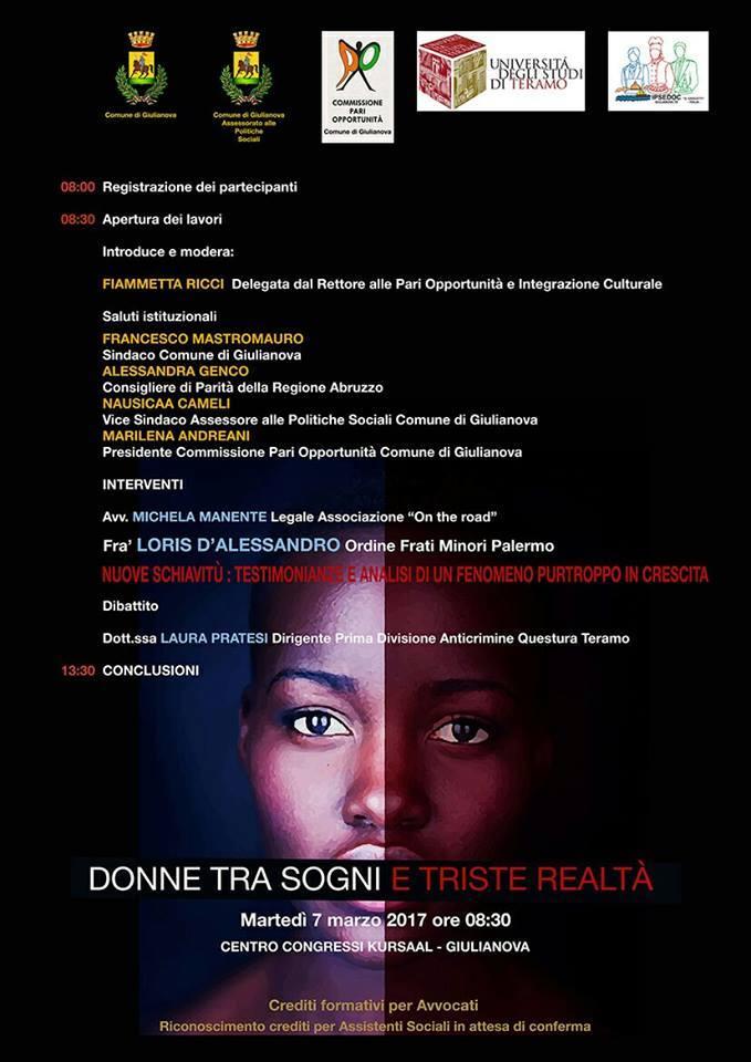 Giulianova. Evento: donne tra sogni e triste realtà, martedì 7 marzo, ore 8,00, centro congressi Kursaal