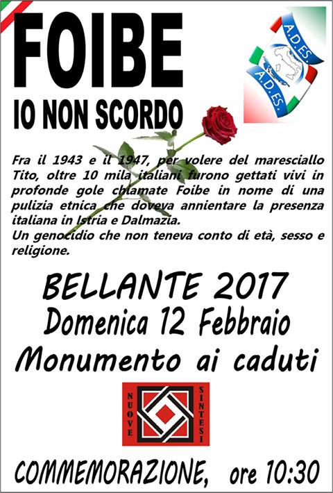 Bellante (TE): celebrazione martiri foibe, domenica12feb, 10:30