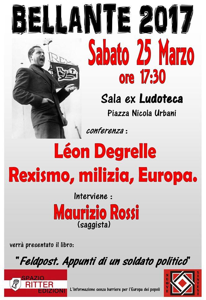 """Conferenza di NUOVE SINTESI """"Léon Degrelle: Rexismo, milizia, Europa"""""""