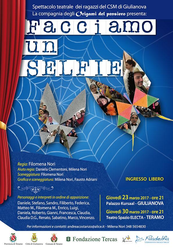 """Giulianova. Con """"Facciamo un Selfie"""" va in scena lo spettacolo finale del Laboratorio di Teatro """"Origami del Pensiero"""" dei ragazzi  del CSM."""