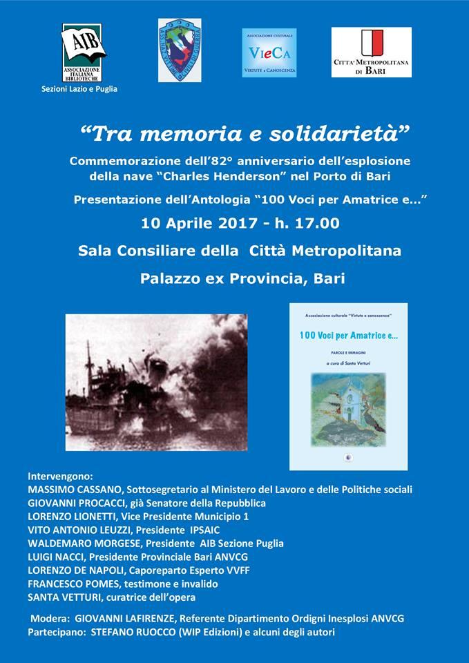"""L'ANVCG onlus (Associazione Nazionale Vittime Civili di Guerra), promuove un'iniziativa congiunta storico-educativa e solidale dal titolo """"Tra memoria e solidarietà"""""""