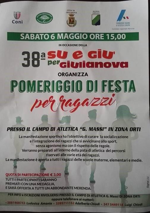 Giulianova. Sabato 6 maggio, ore 15,00, pomeriggio di festa con i ragazzi al campo di atletica.
