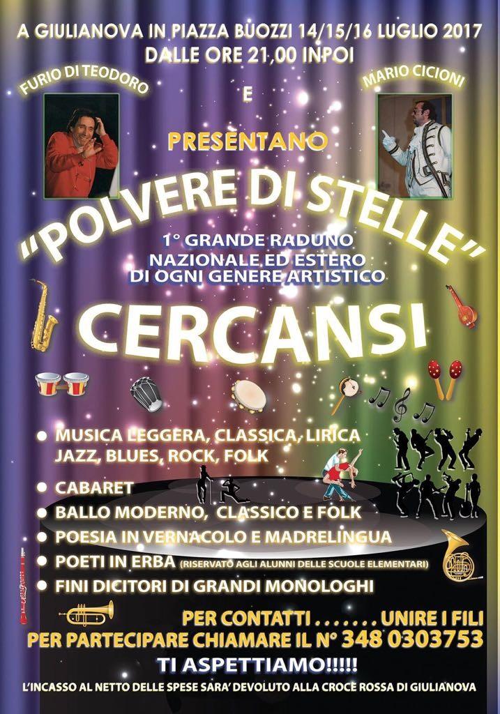 """Manifestazione """"Polvere di stelle"""", in piazza Buozzi, a Giulianova alta, il 14, 15 e 16 luglio.  Primo grande raduno di ogni genere artistico  Cercasi artisti"""