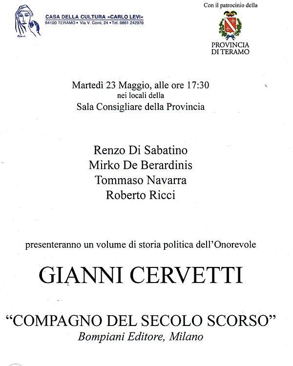 Presentazione del libro dell'On.Gianni Cervetti a Teramo