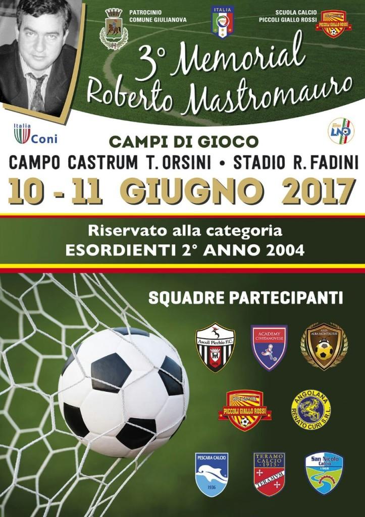 """Giulianova. Torna il """"3° Memorial Roberto Mastromauro"""" che si svolge il 10 e 11 Giugno 2017"""