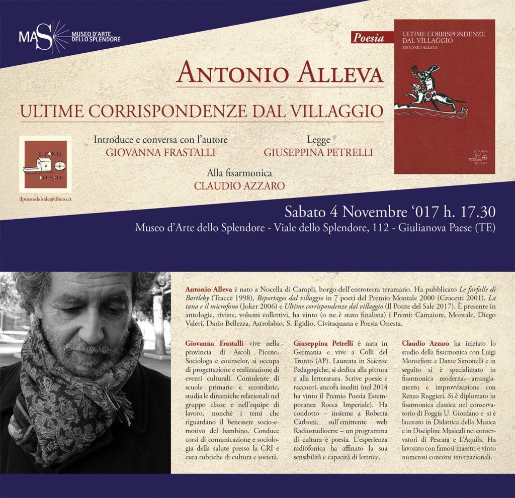 """Giulianova. Antonio Alleva presenta """"Ultime corrispondenze dal villaggio"""""""