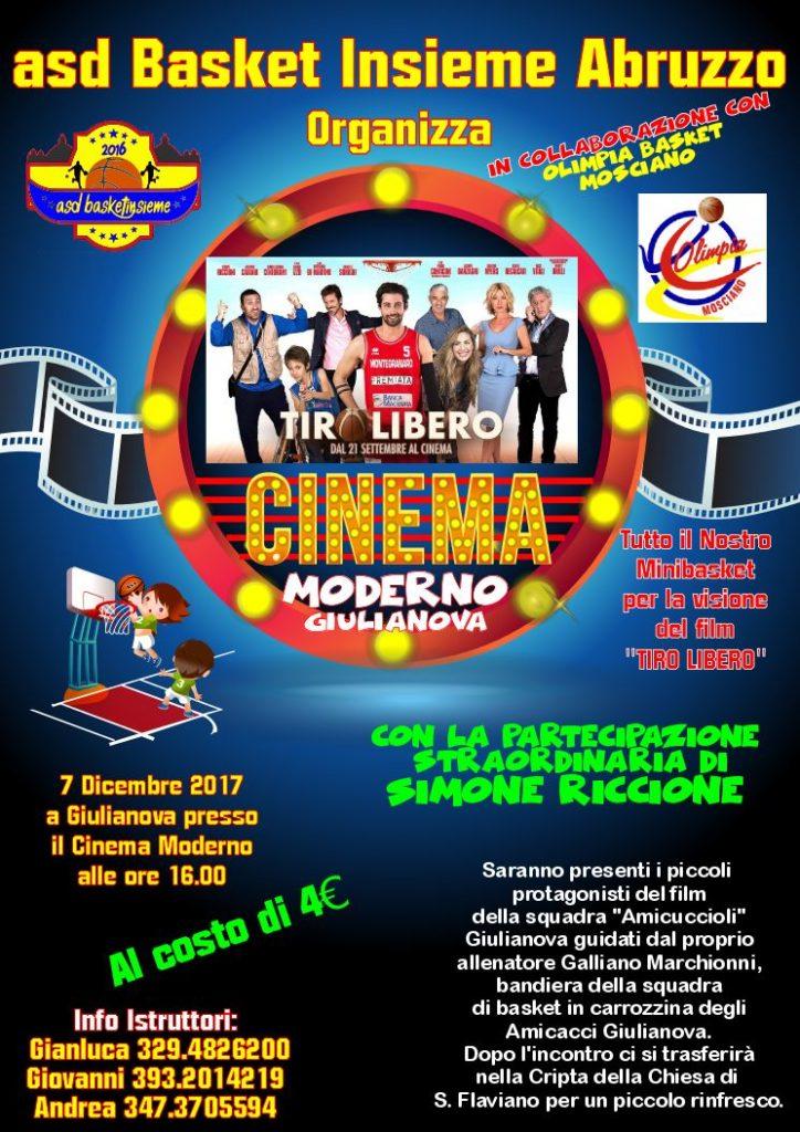 Giulianova. Un pomeriggio di condivisione, cinema e sport, organizzato per Giovedì 7 Dicembre da Basket Insieme al Cinema Moderno e Cripta di San Flaviano