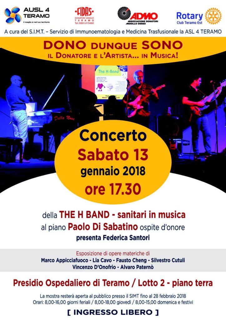 """Teramo. """"DONO dunque SONO – il Donatore e l'Artista…in musica"""", evento musicale con Paolo Di Sabatino"""