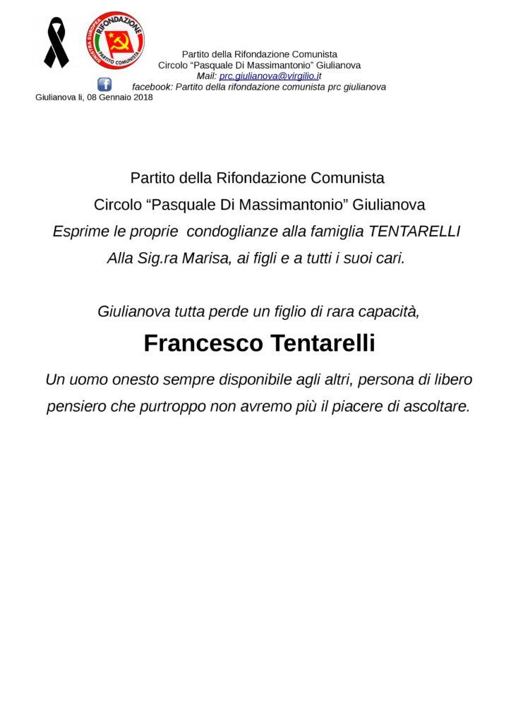 Giulianova. Lutto Tentarelli: il cordoglio del PRC Giulianova