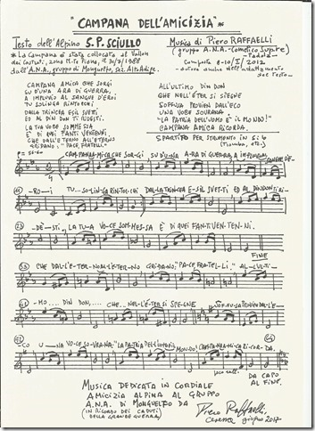 """""""IL PROFESSORE D'ORCHESTRA PIERO RAFFAELLI METTE IN MUSICA LA POESIA DELL'ALPINO SCIULLO """"LA CAMPANA DELL'AMICIZIA"""" DEDICATA A MONTE PIANA E LA DONA AL PRESIDENTE DELLA REPUBBLICA SERGIO MATTARELLA"""""""