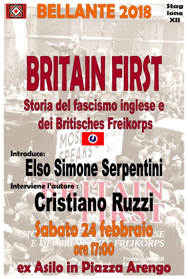 """Bellante. Associazione Culturale NUOVE SINTESI: presentazione del libro """"BRITAIN FIRST – Storia del fascismo inglese e dei Britisches Freikorps"""""""