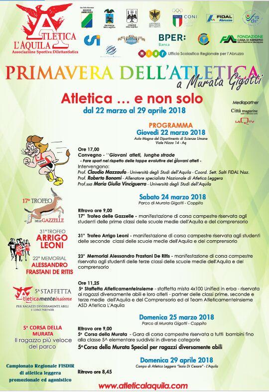 Atletica L'Aquila – Primavera dell'Atletica  Giovedì un convegno con l'Università sull' attività sportiva giovanile e sulla disabilità