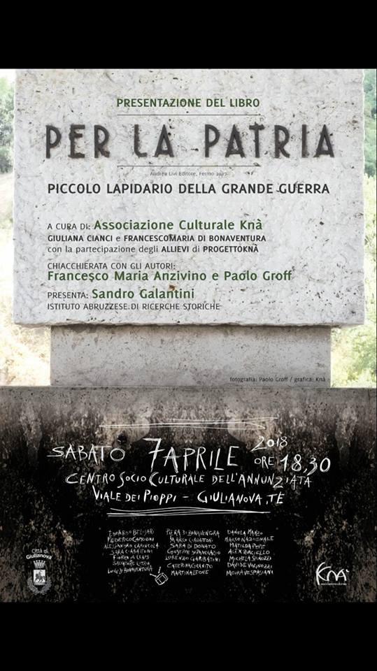 Giulianova. Presentazione-performance del libro dedicato ai monumenti della Grande Guerra.