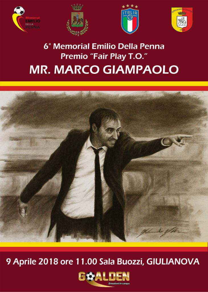 """Giulianova. Dopo il derby della """"Lanterna"""", Marco Giampaolo ritira il premio Fair Play al memorial """"Della Penna"""""""