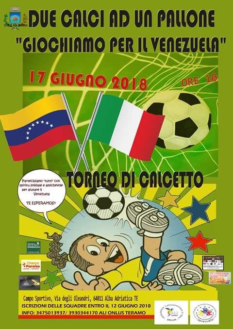 Alba Adriatica. In campo per beneficenza: Giochiamo per il Venezuela!