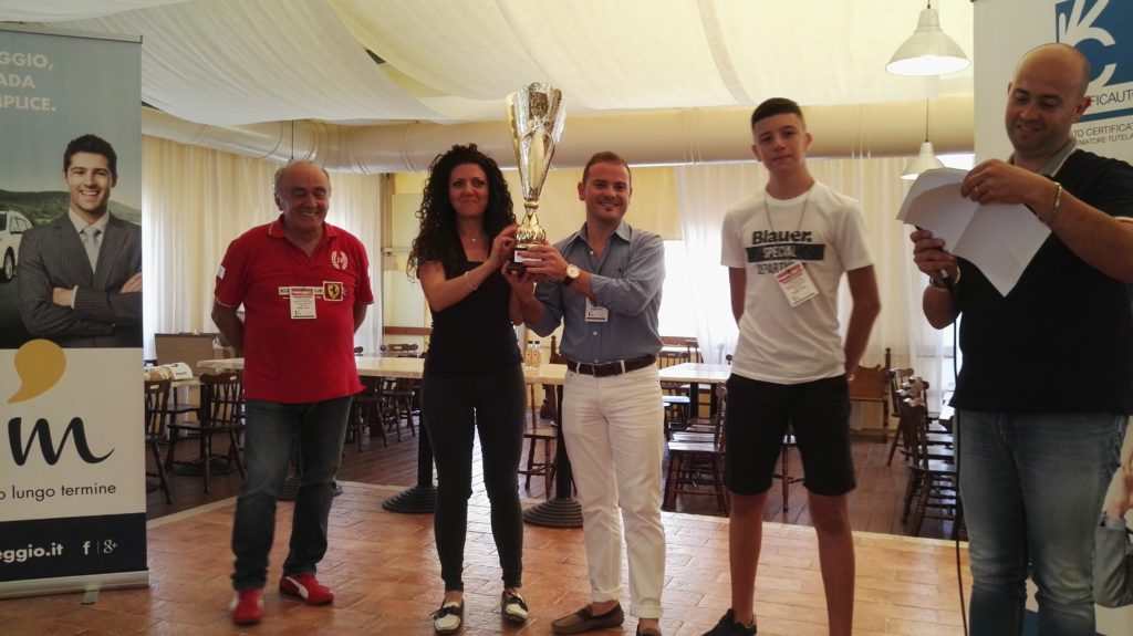 """Villa Rosa di Martinsicuro. Simone Torquati vince il 15° raduno Ferrari – """"Abramo Guercioni"""". L'artista Marco Lacomba autore dei 4 premi."""