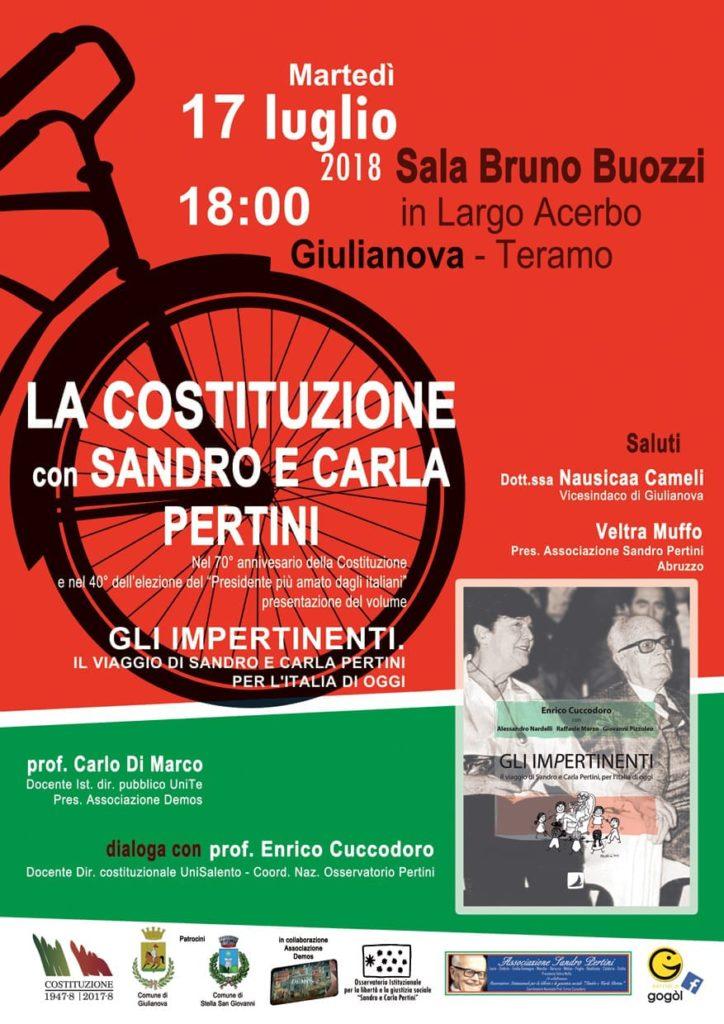 Giulianova. Sandro PERTINI TOUR ABRUZZO 2018, Sala Buozzi 17 luglio 2018, ore 18,00