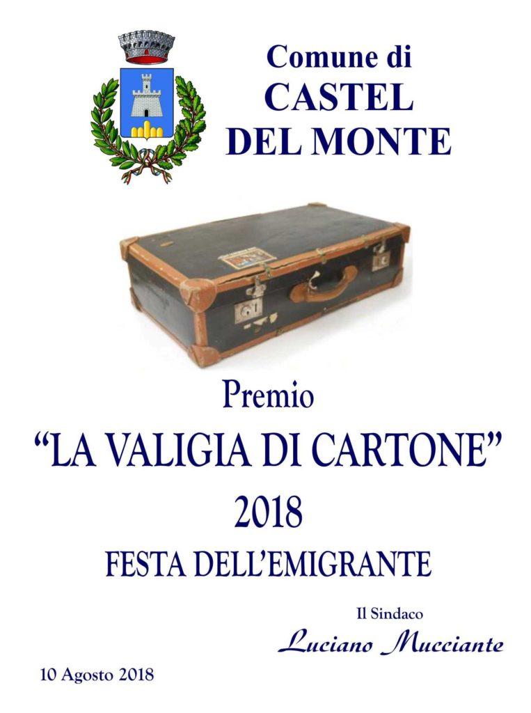 """Premio """"La valigia di cartone"""" a Castel del monte (AQ) il 10 agosto 2018"""