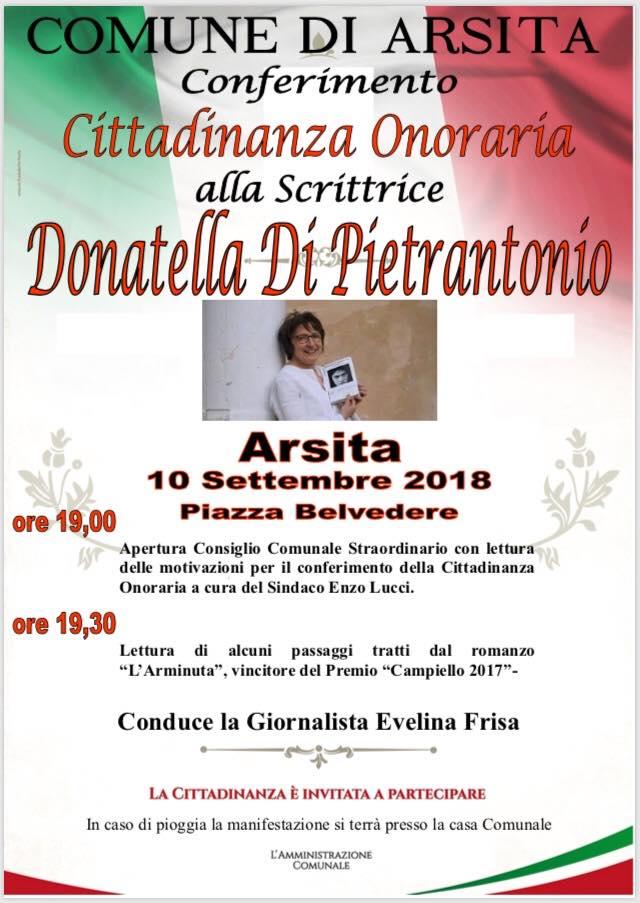 Arsita, Amministrazione Comunale conferisce cittadinanza onoraria  alla scrittrice Donatella Di Pietrantonio