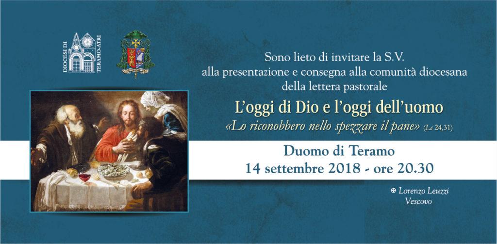 """Teramo. La prima lettera pastorale del vescovo Mons. Lorenzo Leuzzi, dal titolo """"L'oggi di Dio e l'oggi dell'uomo"""""""